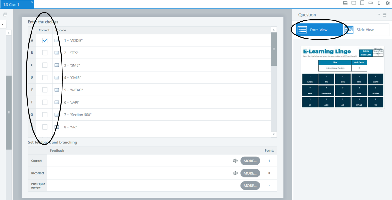 Screenshot highlighting the checkboxes in Form View