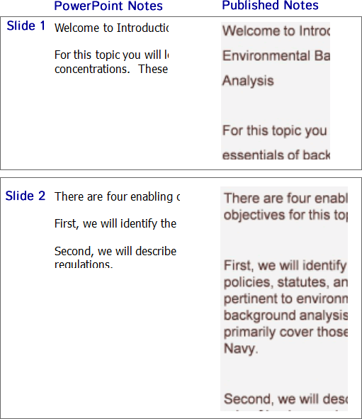 This image shows that the PowerPoint notes are consistently formatted, but appear with extra line breaks and different line spacing.