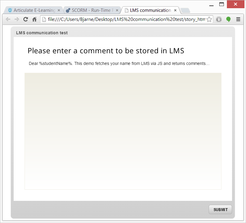 Scorm 1 2 LMS communication and feedback using javascript