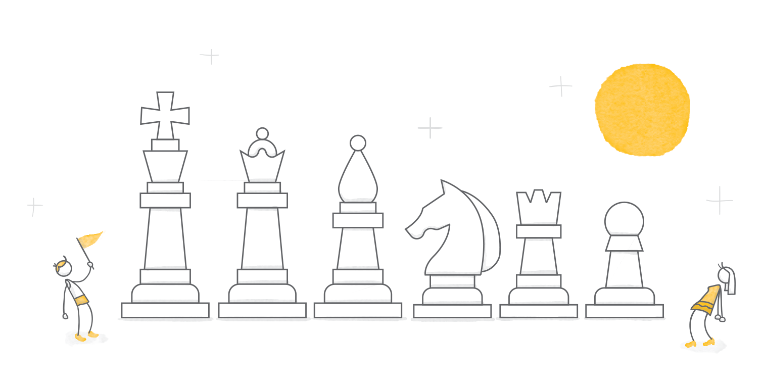 gamification roundup hero image of characters around a group of chess pieces