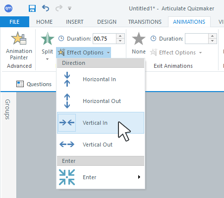 Choose effects for your animations in Articulate Quizmaker 360.