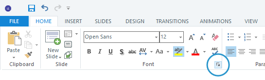 Click the arrow in the lower right corner of the Font group on the ribbon to open the Font window