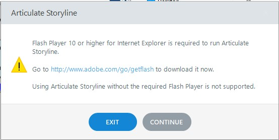 Storyline requires Flash10