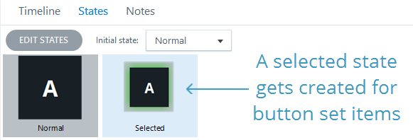 Storyline creates selected states for all objects in a button set