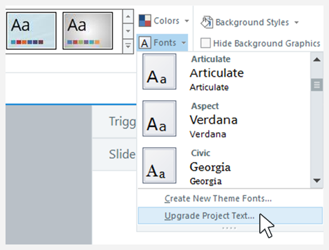 Upgrade Project Text setting in Storyline 360