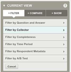 Filter by collector in SurveyMonkey