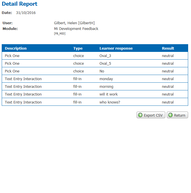 screen shot of LMS report