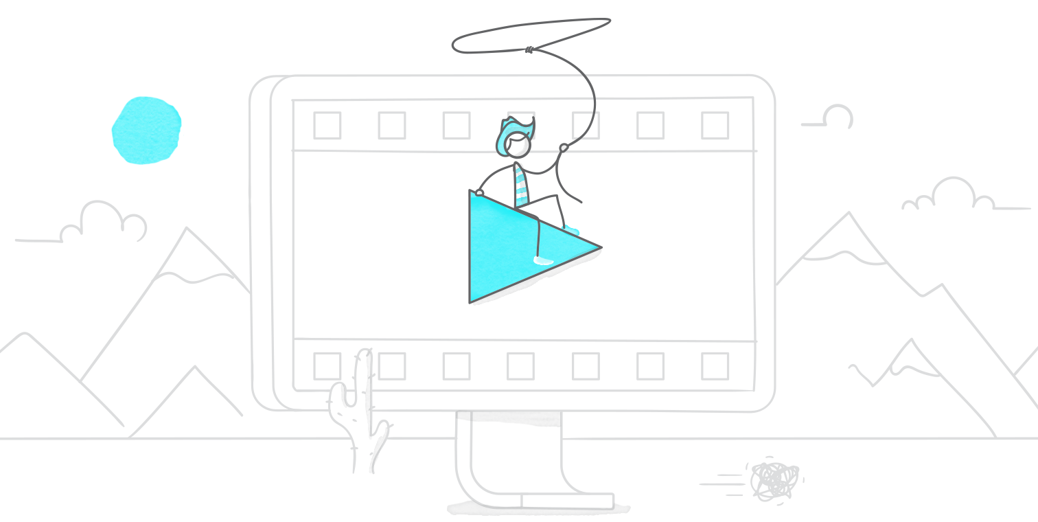 hero illustration of a character with a lasso sitting on a play button suspended in the middle of a giant monitor