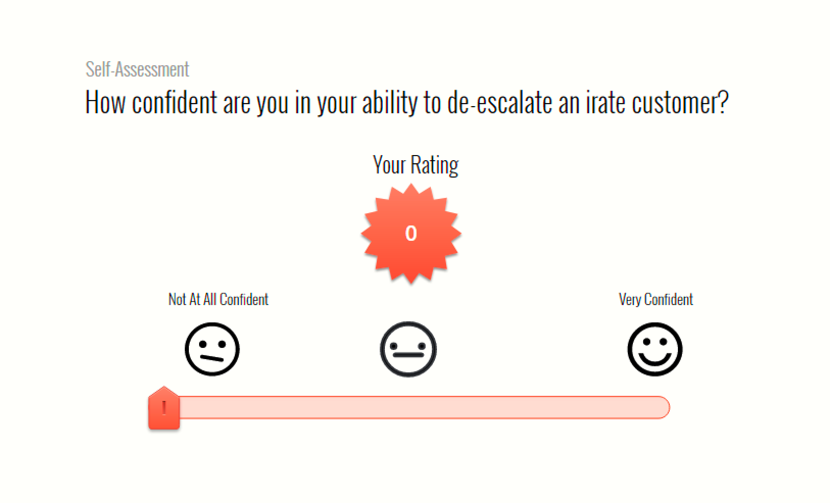 A rating scale built with a slider in Storyline 360