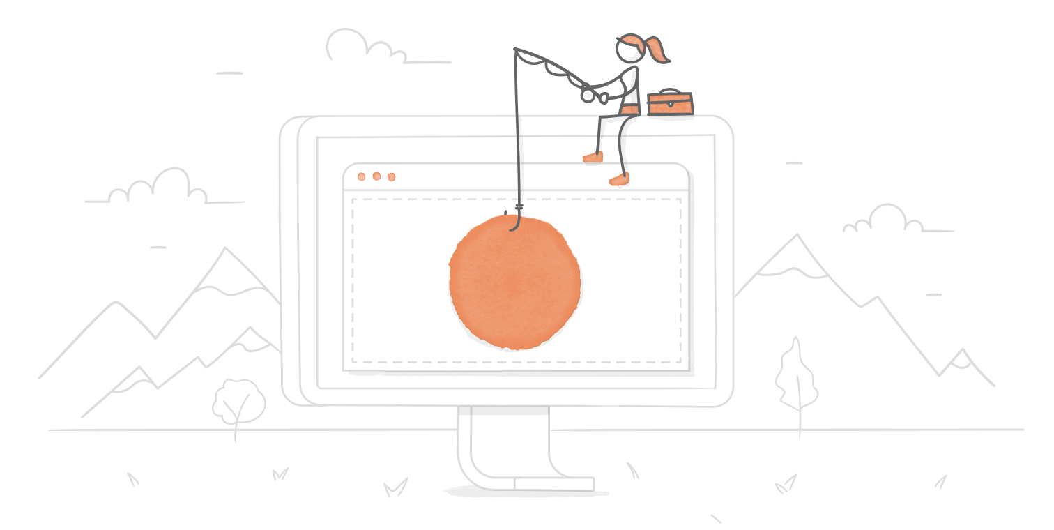 illustrated hero image of a character fishing from their perch on a giant computer screen