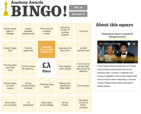 Academy Awards Bingo Game