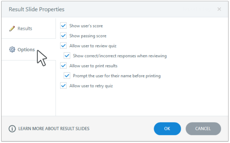 where did the results slide properties go in storyline 360
