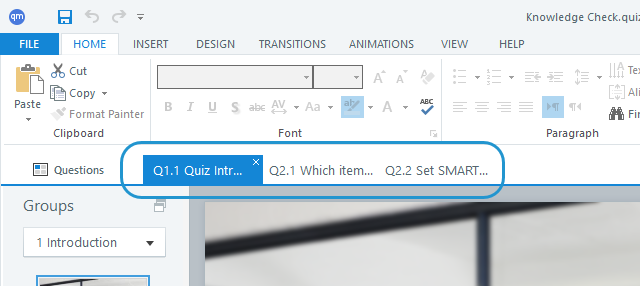 Keep multiple slides open at the same time in separate tabs.