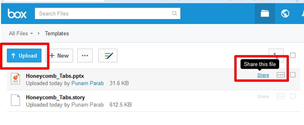 Screenshot of box.com highlighting upload button