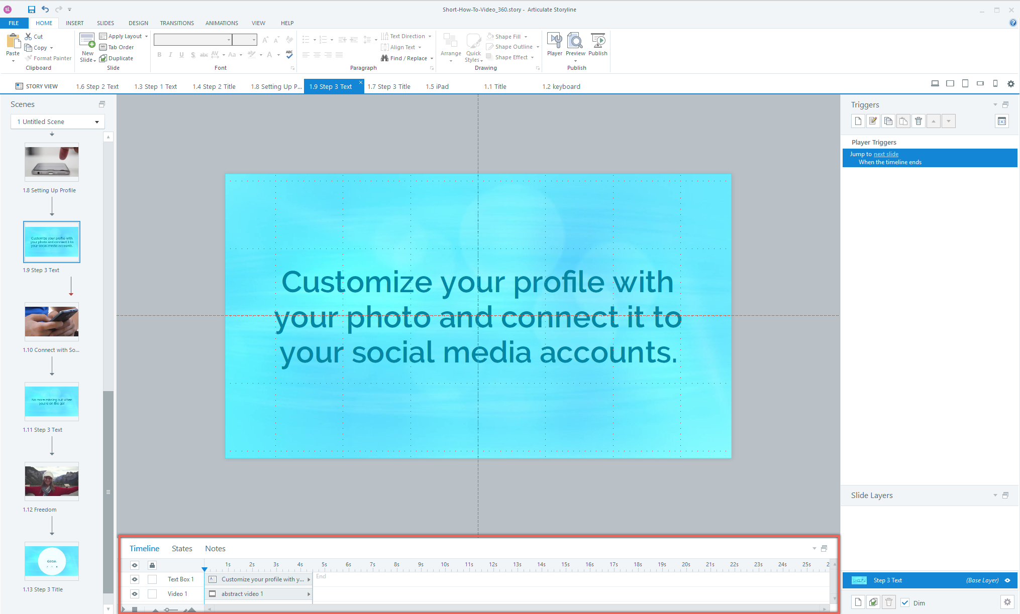Adjust slide timing in Articulate Storyline 360