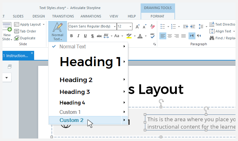 Applying text styles in Storyline 360