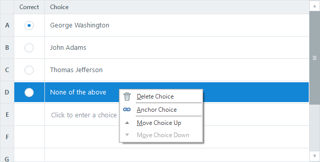 Right-click answer choices in Form View to delete, anchor, and move them.