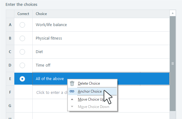 How to anchor answer choices in Articulate Storyline 3