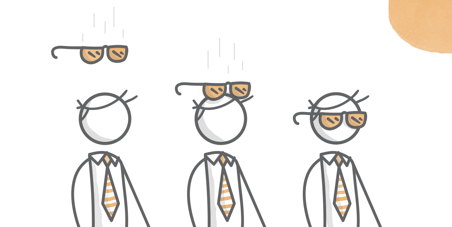 illustrated hero image of a sequence of three characters with glasses descending on to their faces