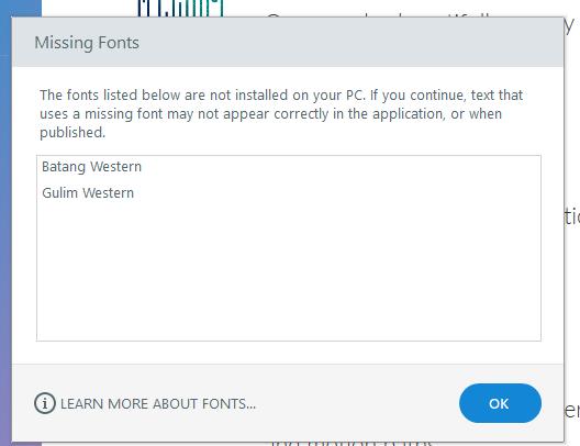 Missing Font Missage