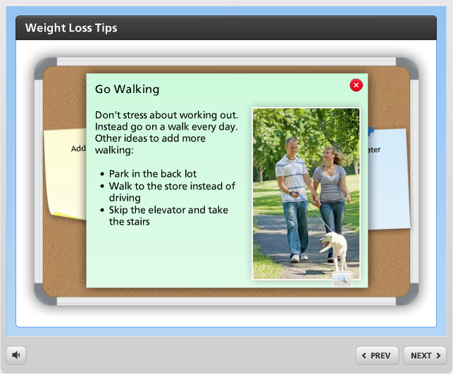 Example of a bulletin board interaction in Articulate Engage 360