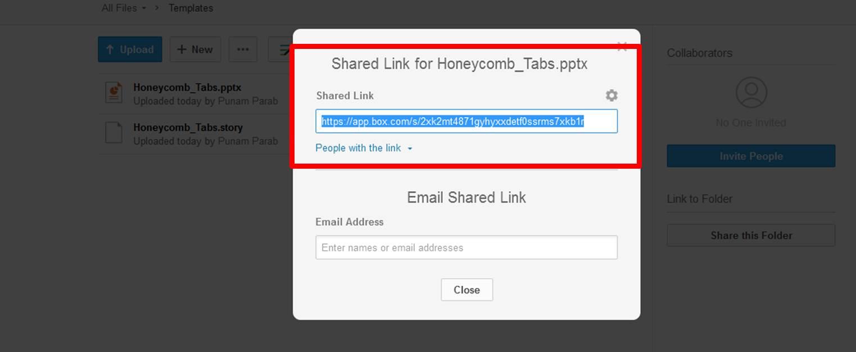 Screenshot of box.com showing shareable link