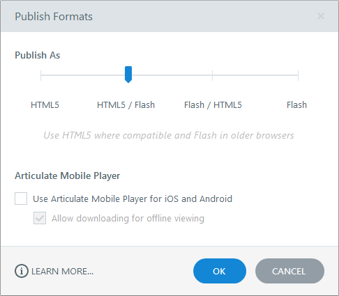 Publish Formats in Articulate Engage 360