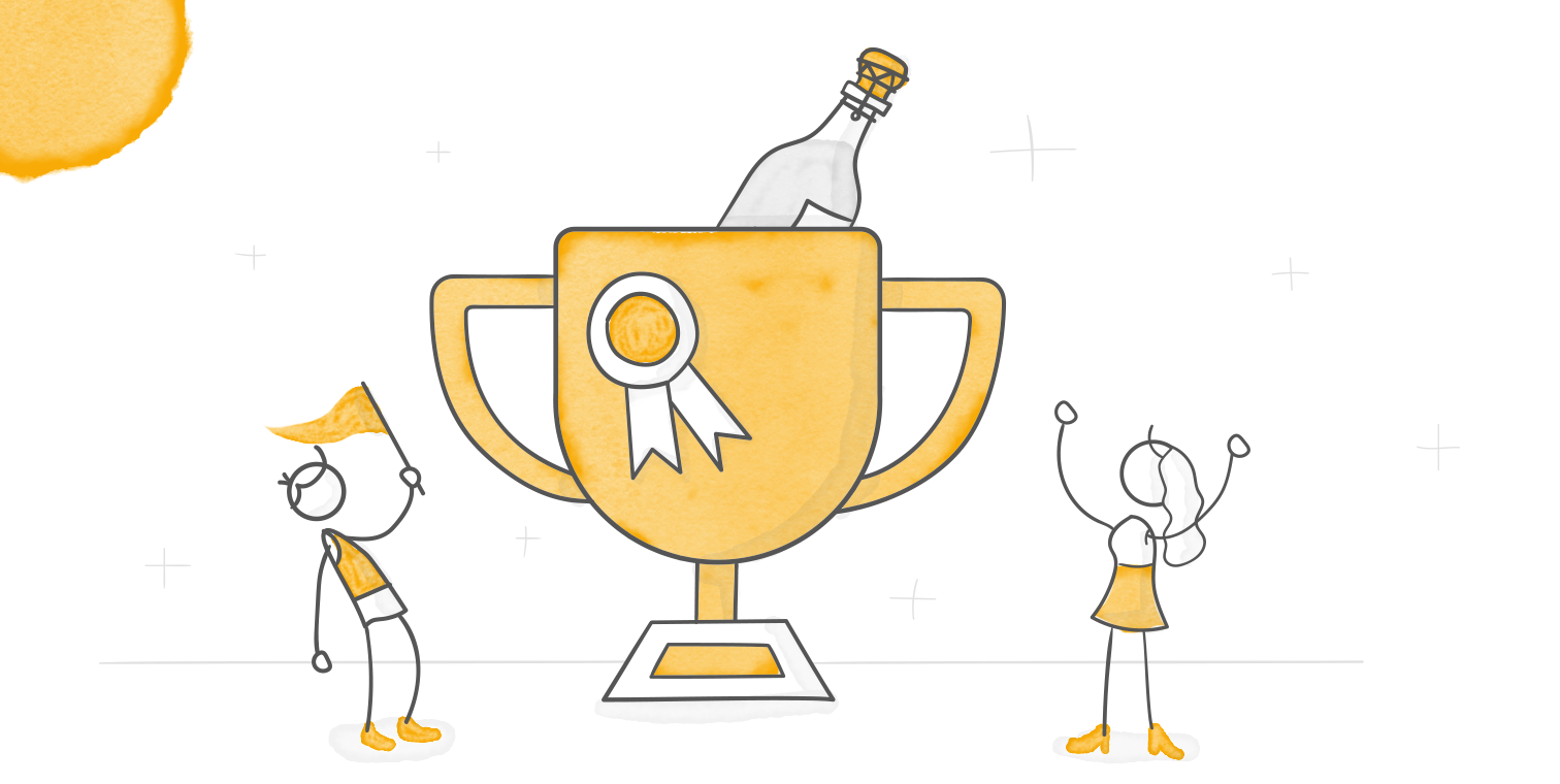 header illustration featuring two characters standing next to a trophy