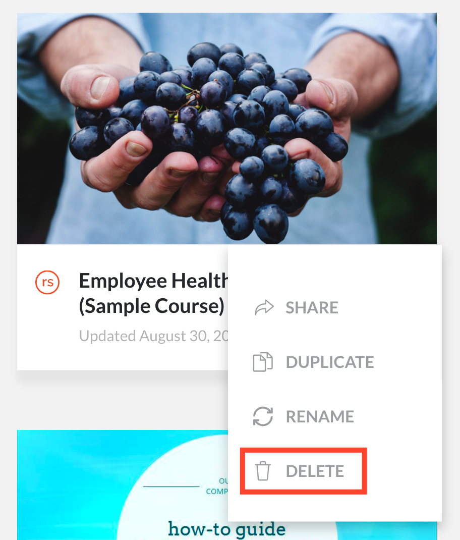 Deleting a course from Articulate Review