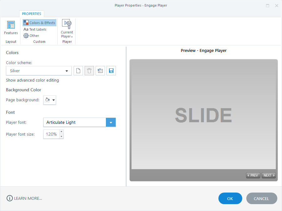 Colors and Font Properties in Articulate Engage 360