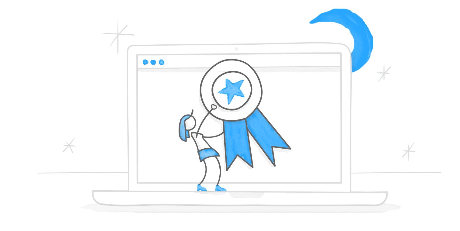 hero illustration of a character pinning a blue ribbon on a giant laptop