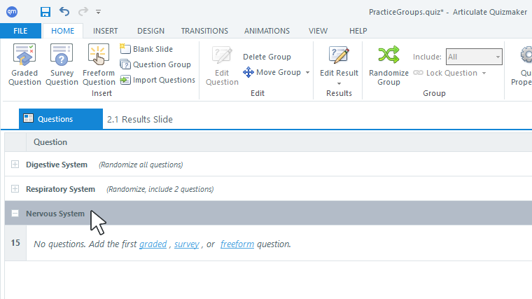 You can collapse and expand question groups in Articulate Quizmaker 360 as well as add new question groups to your quiz.