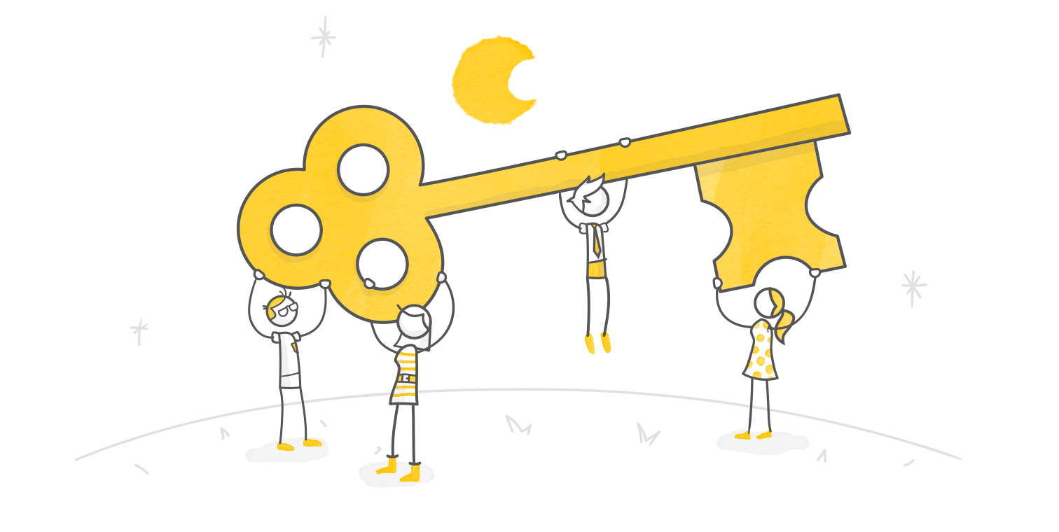 hero illustration of animated characters holding up an oversized key