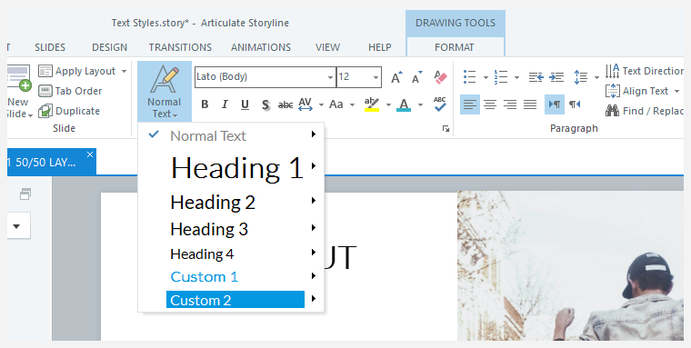 Text styles in Storyline 360