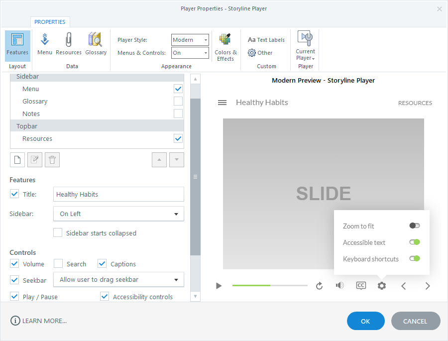 Storyline 360 player features