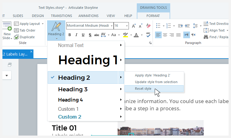 Resetting text styles to their default settings in Storyline 360