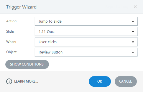 Add a trigger that jumps to the first quiz slide in your Articulate Storyline 3 course