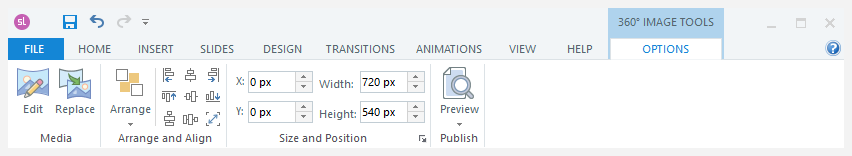 360° image tools tab