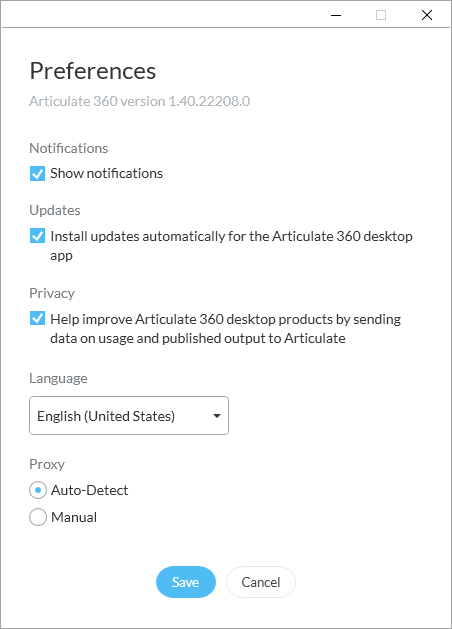 Articulate 360 preferences
