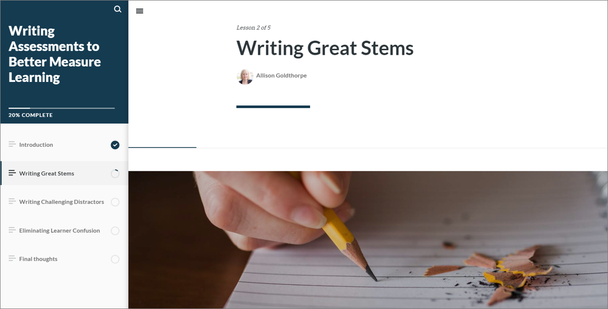 Screenshot of Assessment Writing Guide Course