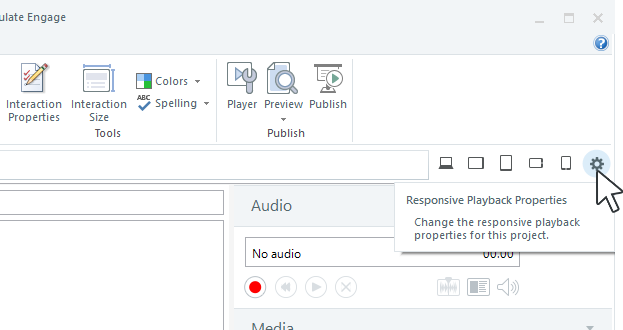 Click the gear icon to open the responsive playback properties.