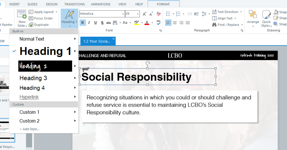 Back end of storyline authoring tool with heading 1 applied to Social Responsibility title on a slide.