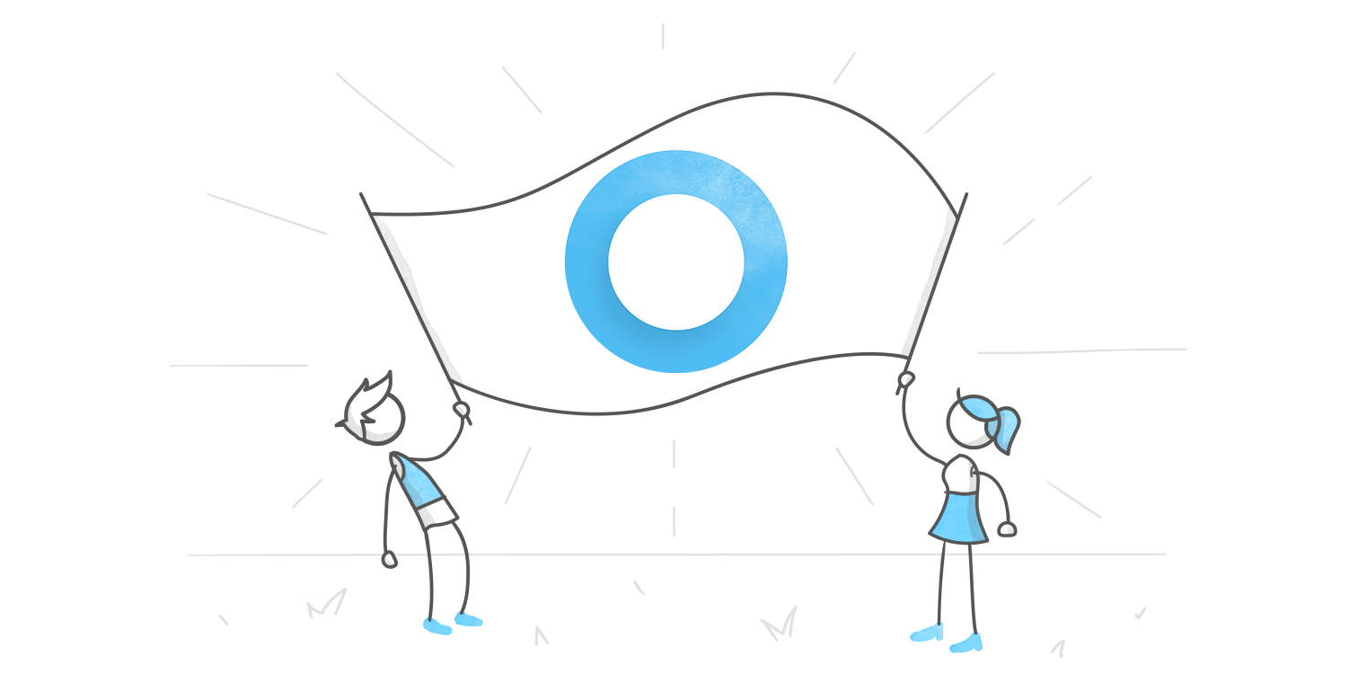 hero illustration of two characters holding a giant banner bearing the Articulate 360 logo between the two of them