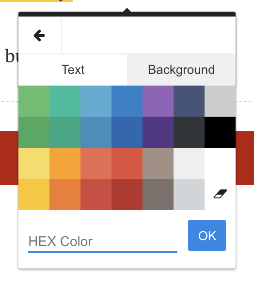 Color selection tool for selected text