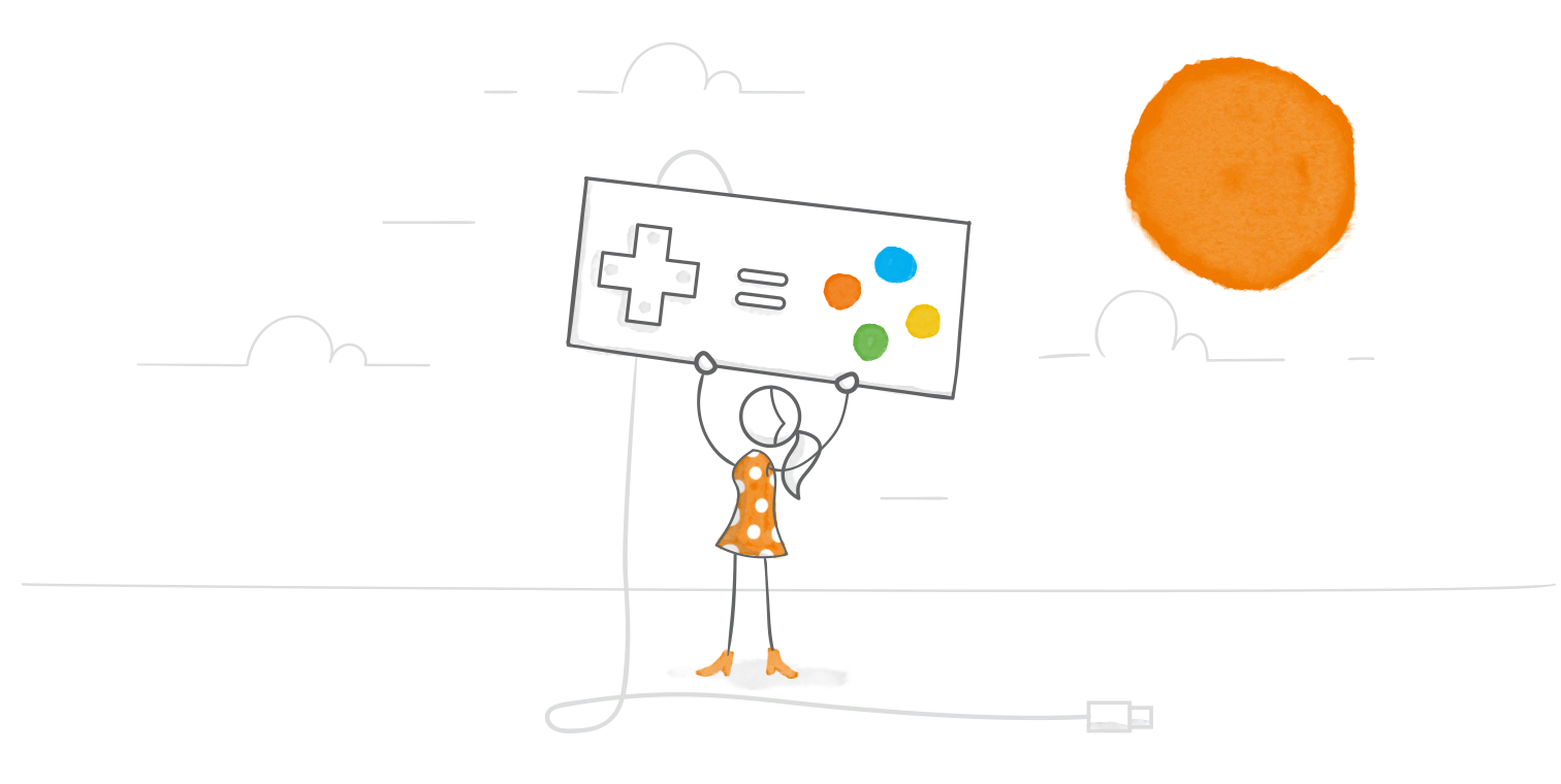 e-learning game round-up example illustrated header image with character holding giant game controller