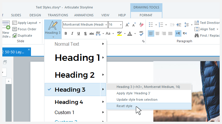 The text styles drop-down list showing the Heading 3 sub-menu with the Reset Style option selected