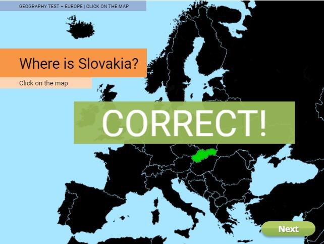 Geography test screenshot
