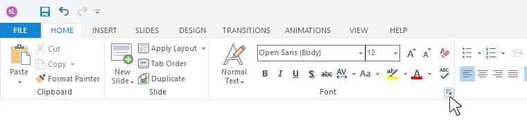 Open the font window