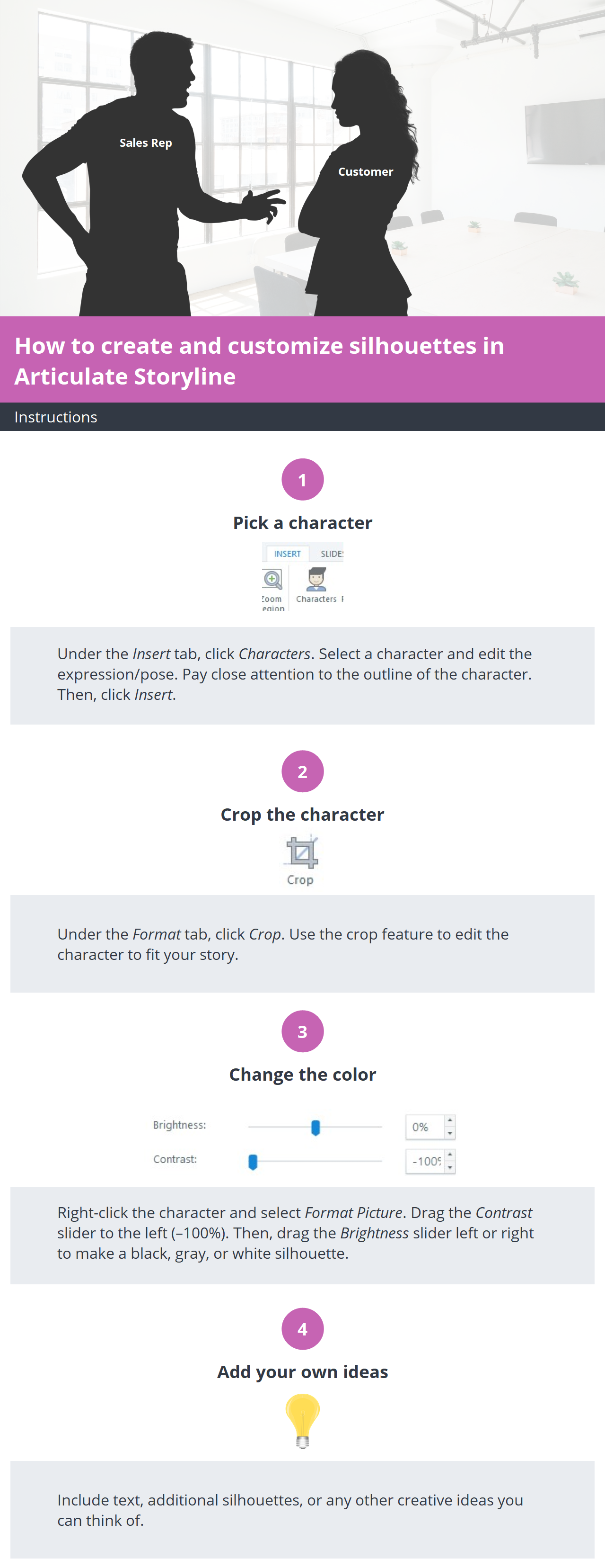 Create and customize silhouettes in Articulate Storyline
