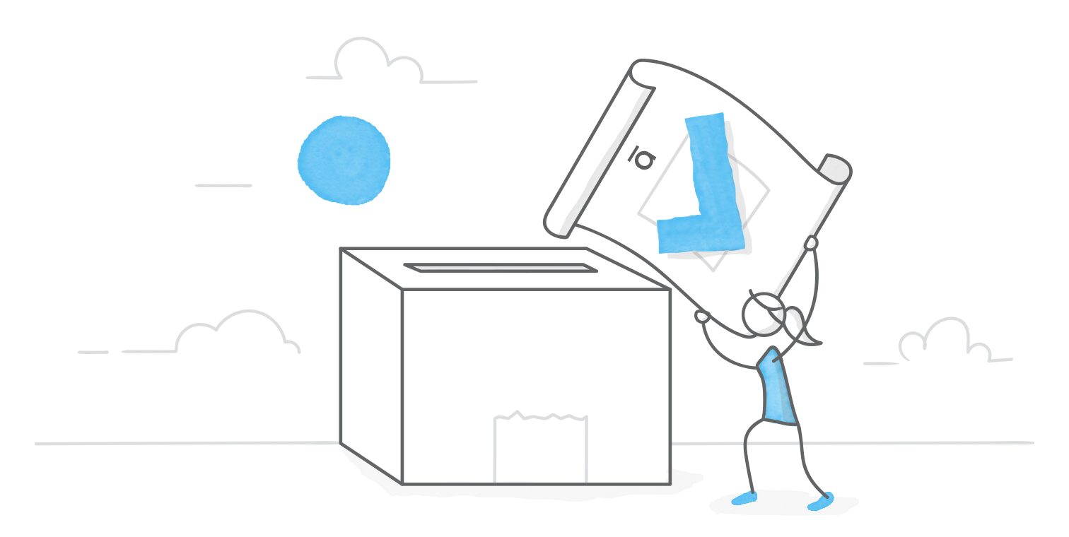illustrated character hoisting a giant voting card into an oversized ballot box